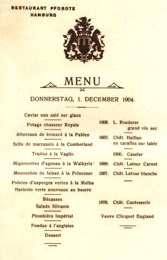 Historische Menuekarten Und Speisekarten